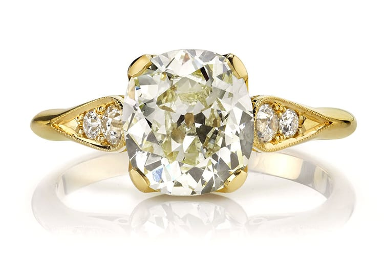 Single stone Amanda diamond engagement ring with a 2.00-carat center stone in 18K yellow gold. (Photo courtesy of Greenwich St Jewelers)