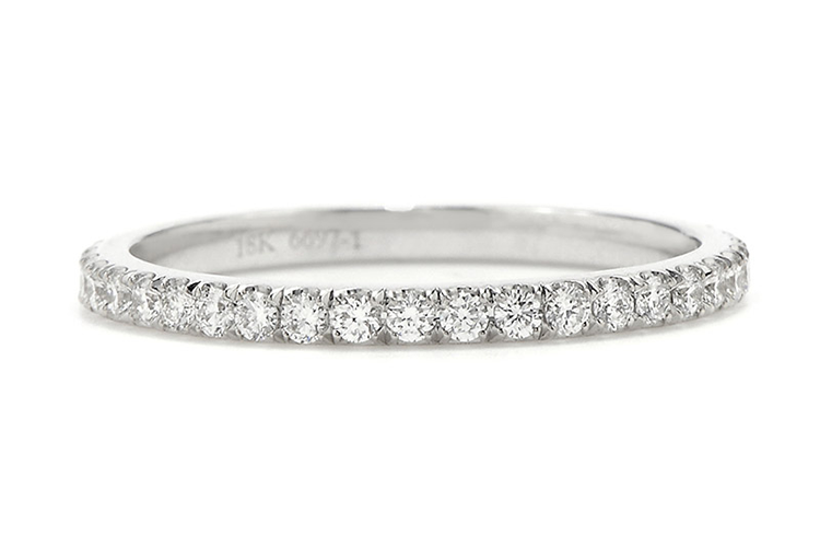 Danhov at Greenwich Jewelers handmade Micro pave diamond eternity band in 18K