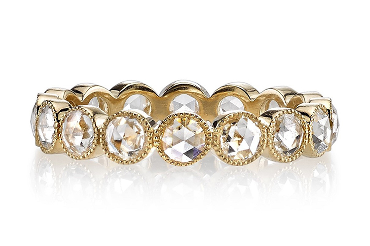 Single Stone at Greenwich Jewelers bezel-set round rose cut diamonds 1.1.5 in 18K gold