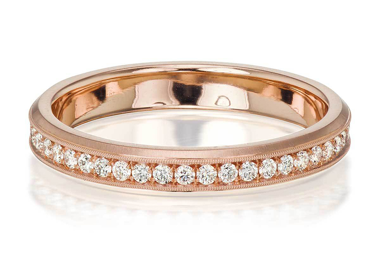 Erika Winters at Greenwich St. Jewelers channel-set rounds in 18K rose gold