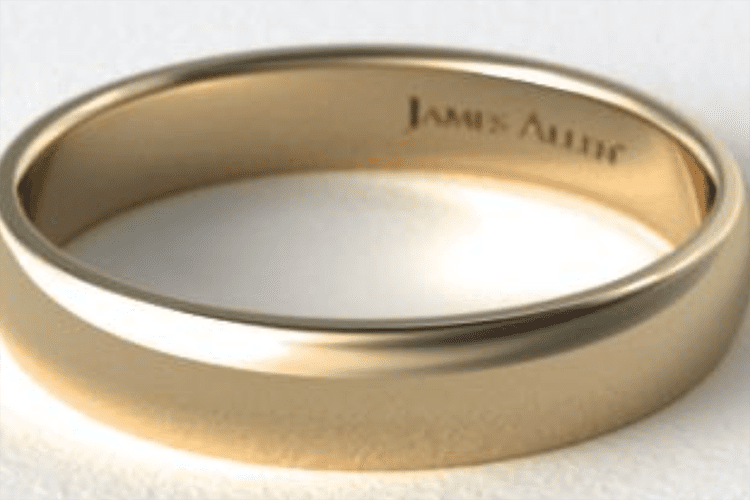 14K yellow gold 5mm slightly domed comfort fit wedding ring