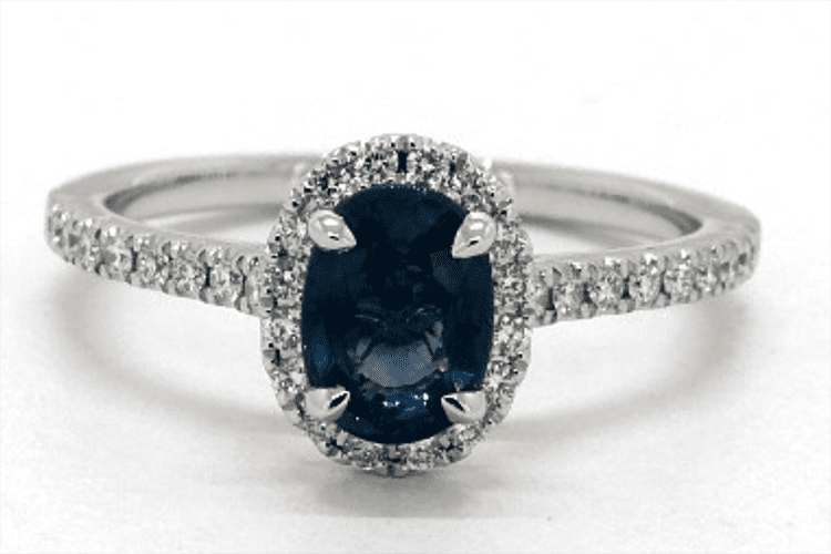 18K White Gold Oval Halo Sapphire and Diamond Engagement Ring James Allen