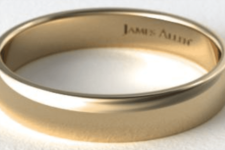 18K yellow gold 5mm slightly domed comfort fit wedding ring