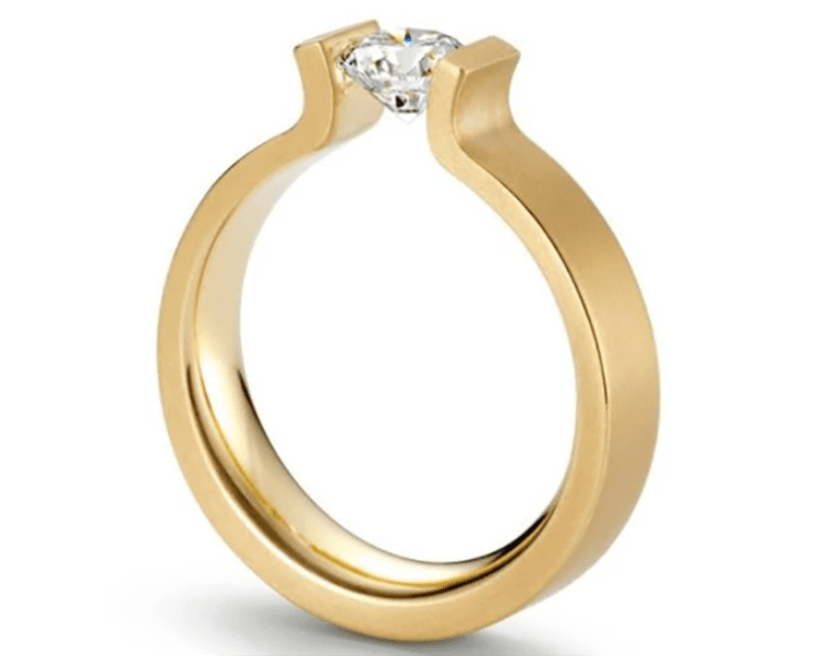 18K yellow gold and tension-set diamond engagement ring. I Gorman Jewelers. engagement ring ideas