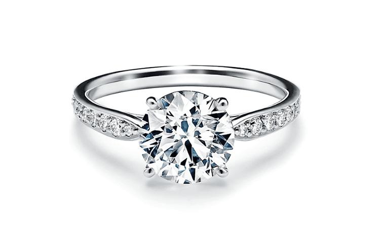 2ct TIffany Harmony round brilliant engagement ring with a diamond platinum band. (Photo courtesy of Tiffany)