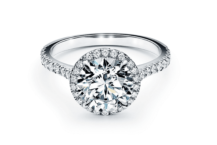 2ct Tiffany Soleste round brilliant engagement ring in platinum. (Photo courtesy of Tiffany)
