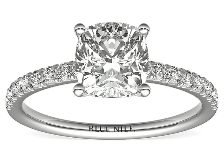 2ct cushion pavé engagement ring in 14K white gold. (Photo courtesy of Blue Nile)