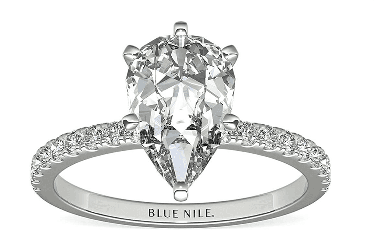 2ct pear pavé engagement ring in 18K white gold. (Photo courtesy of Blue Nile)