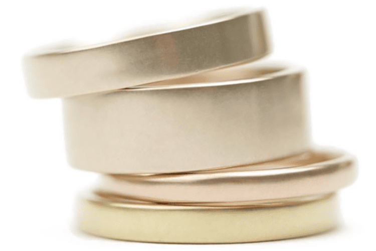 Marian Maurer's different widths and metals of wedding bands. (Photo courtesy of Marian Maurer)