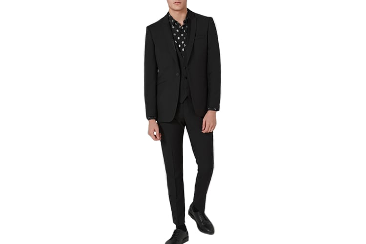 The Topman Black Textured Skinny