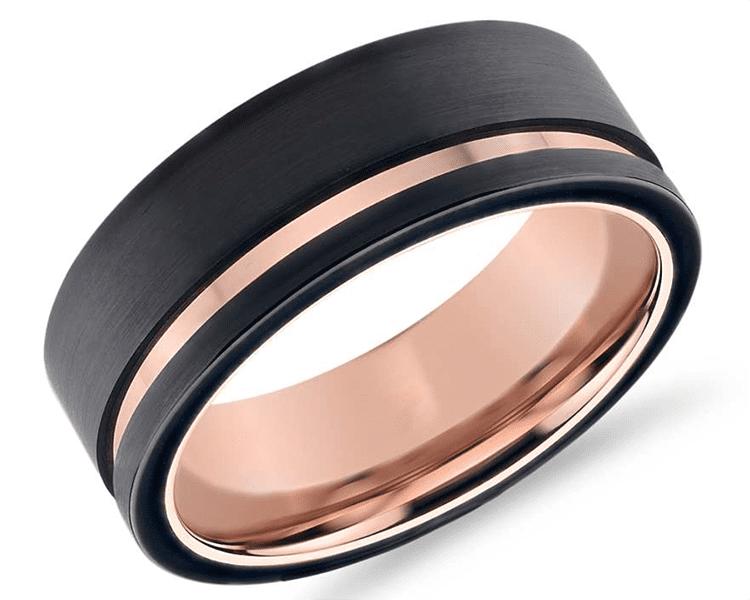 Black and rose ring courtesy of Blue Nile