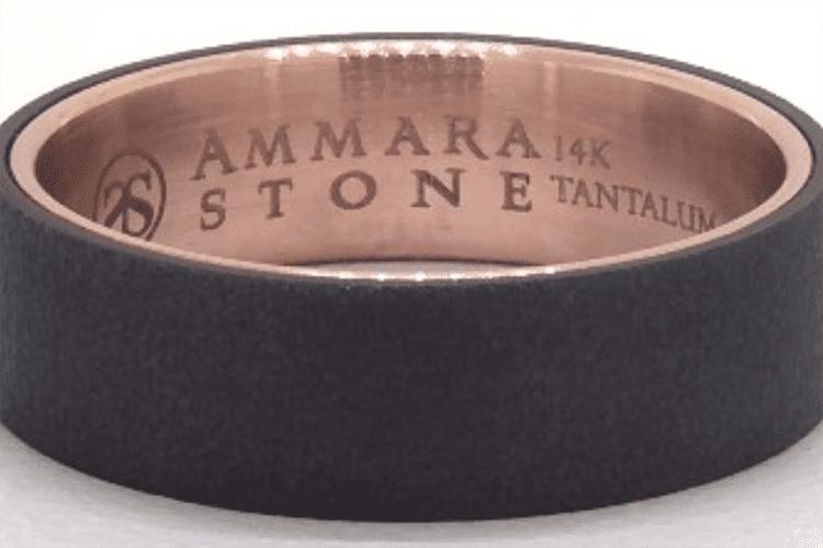 Blackened Tantalum Wirebrush ring courtesy of James Allen