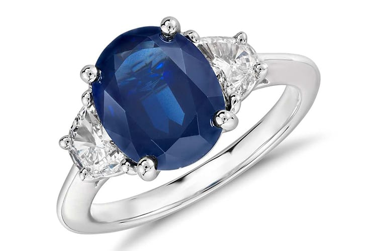 Blue Nile oval sapphire and diamond engagement ring