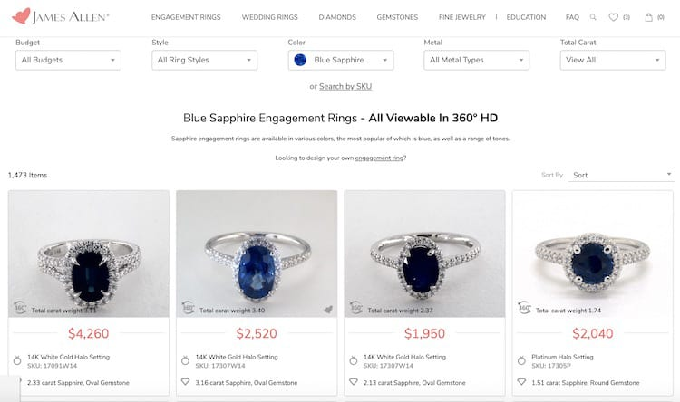 A selection of sapphires available at James Allen