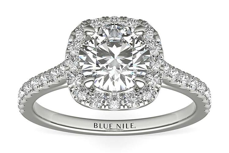 Cushion cut halo ring in platinum. Photo courtesy of Blue Nile.