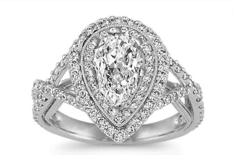 Diamond swirl double halo engagement ring ideas Shane Co