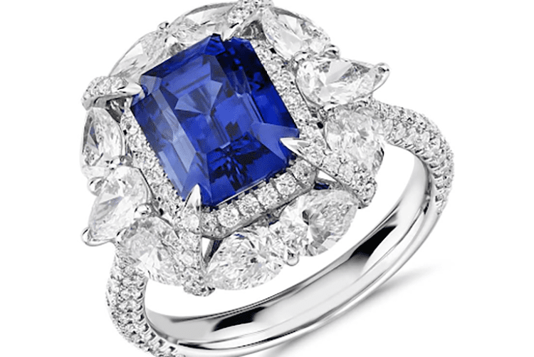 Emerald-Cut Sapphire and pear-shaped diamond halo engagement ring blue nile