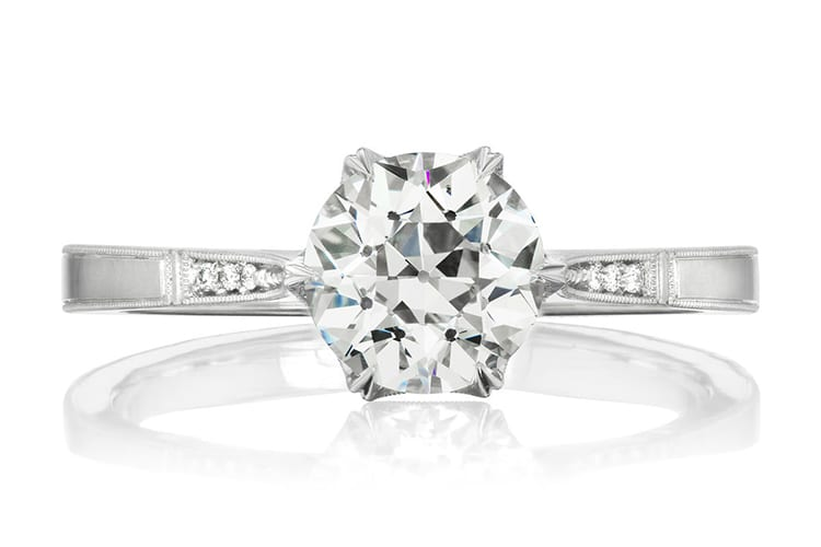 Erica Winters Grace Cathedral 1.25 carat engagement ring. Photo by Greenwich St Jewelers