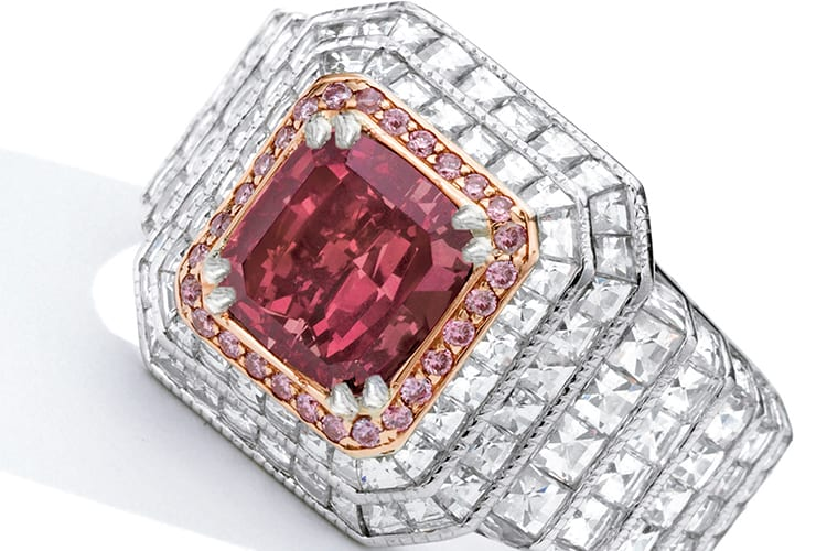 Fancy red diamond and diamond ring, centering a cushion-cut fancy red diamond weighing 1.38 carats, framed by round diamonds of pink hue, further decorated by square-cut diamonds. Fancy red, natural color, SI2 clarity. Estimated to be $1.8 million to $2.8 million. (Photo Courtesy of Sotheby's)