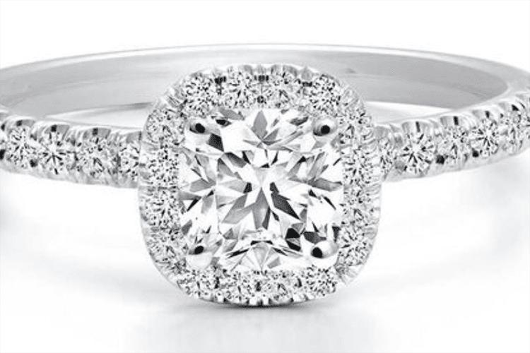 Forevermark Black Label 3/4 ct cusion cut diamond engagement ring ideas. Ben Bridge.