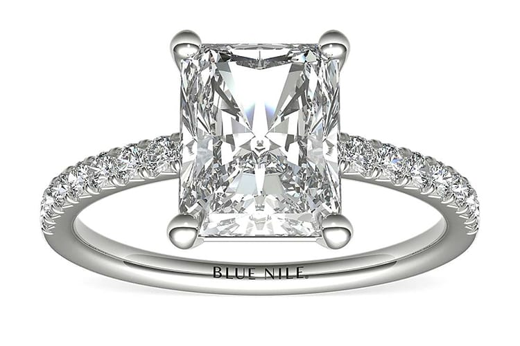 French pavé diamond engagement ring. Photo by Blue Nile.