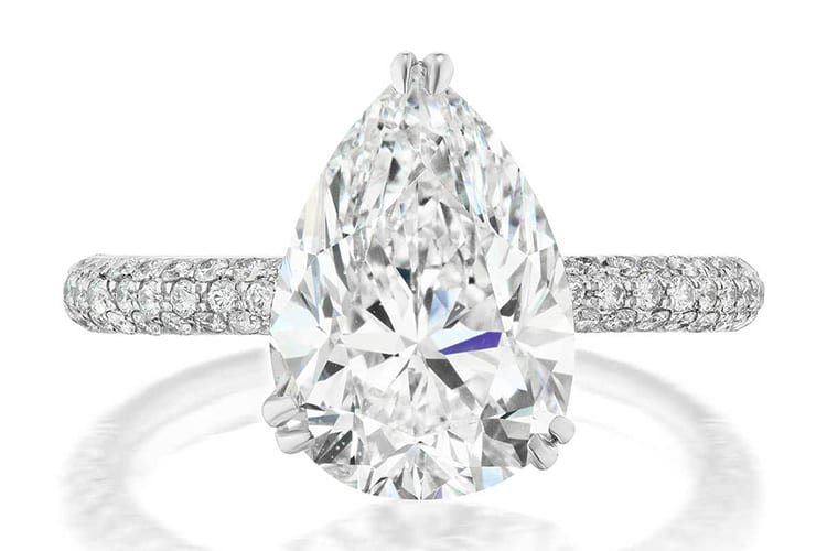 Greenwich St Jewelers 4.02 pear diamond engagement ring ideas