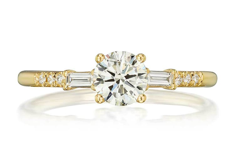 Jennie Kwon Melody Baguette diamond engagement ring. Photo by Greenwich St Jewelers