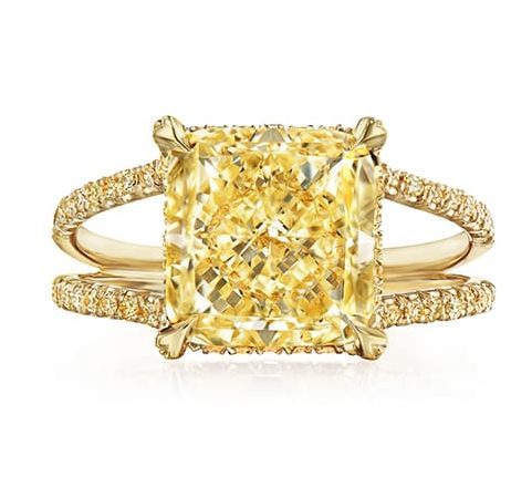 Kwiat yellow radiant cut diamond ring with yellow diamond pavé shank in yellow gold. Price upon request. (Photo courtesy of Kwiat)