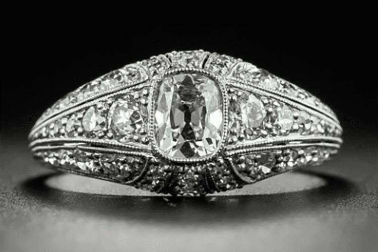 Lang Antique & Estate Jewelers platinum Art Deco .45-carat antique cushion-cut diamond engagement ring circa 1920s. (Photo courtesy of Lang Antique & Estate Jewelers)