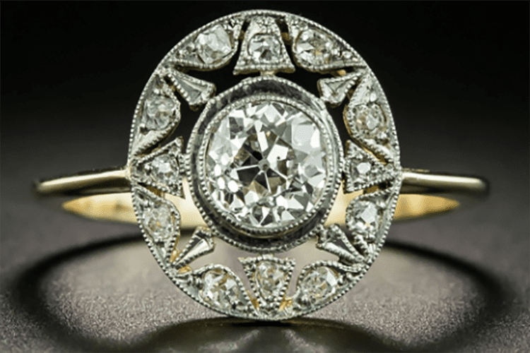 Lang Antique & Estate Jewelers French Belle Epoque .80-carat diamond star motif ring in platinum over 18K yellow gold. (Photo courtesy of Lang Antique & Estate Jewelers)