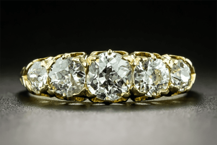 Lang Antique & Estate Jewelers 18K Victorian five-stone diamond ring set with European cut diamonds, circa 1982. (Photo courtesy of Lang Antique & Estate Jewelers)