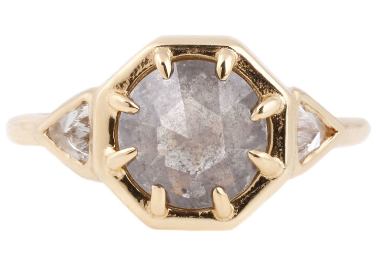 Lauren Wolfe's one-of-a-kind 18K yellow gold three diamond ring. 1.37-carat clear gray, pointy rose cut diamond center stone with .24 TCW of white trillion side stones. $4,600. (Photo courtesy of Lauren Wolfe)
