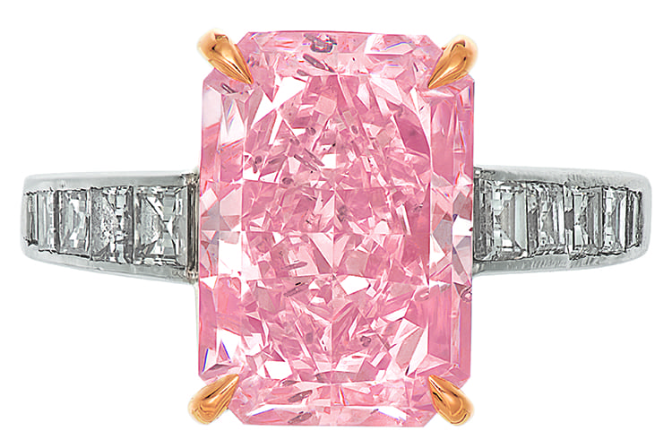 Fancy light brownish pink cut-cornered rectangular modified brilliant-cut diamond of 5.25 carats. Estimated to be $80,000 to $120,000. (Photo Courtesy of Christie's)