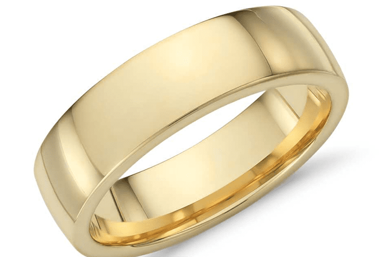 18K yellow gold Low dome comfort fit wedding ring courtesy of Blue Nile
