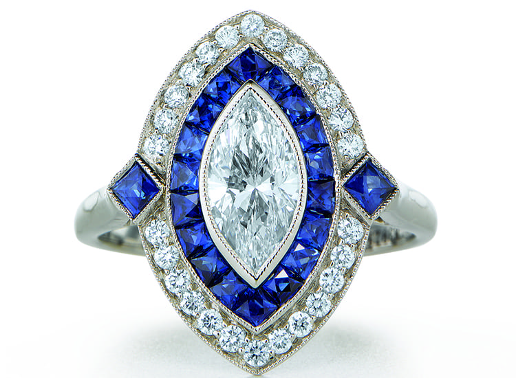 Marquise Diamond and Sapphire Engagement RIng. Photo courtesy of Kwiat.