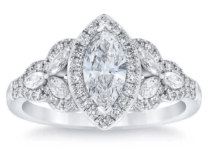 Marquise cut and round brilliant 1.35 engagement ring. Costco. engagement ring ideas
