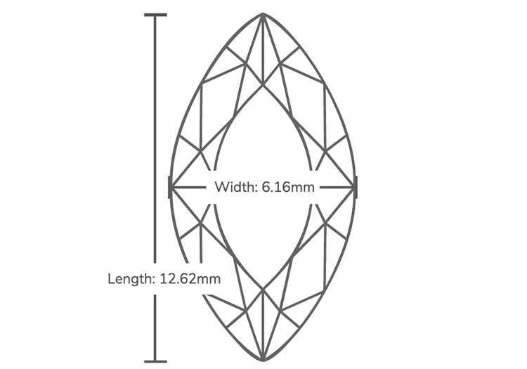 Measurements for 1.70 Carat F-SI1 Marquise Cut Diamond. Photo courtesy of James Allen.