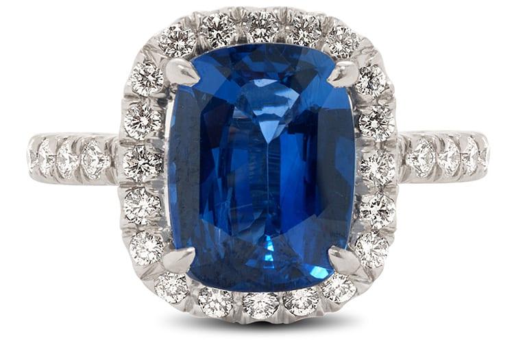 Size of Sapphire- 4.82-carat Cushion Cut Sapphire Color/Quality of Sapphires- Genuine Cushion Cut Sapphire Heat Treated, $18,000.00. Nicole Rose Jewelry