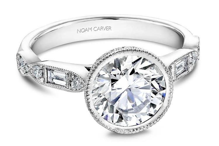 Noam Carver bezel diamond engagement ring setting with milgrain. Photo courtesy of Greenwich St Jewelers.