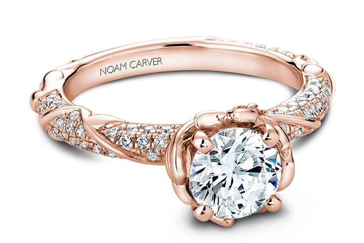 Noam Carver floral & vine diamond engagement ring setting. Photo by Greenwich St Jewelers