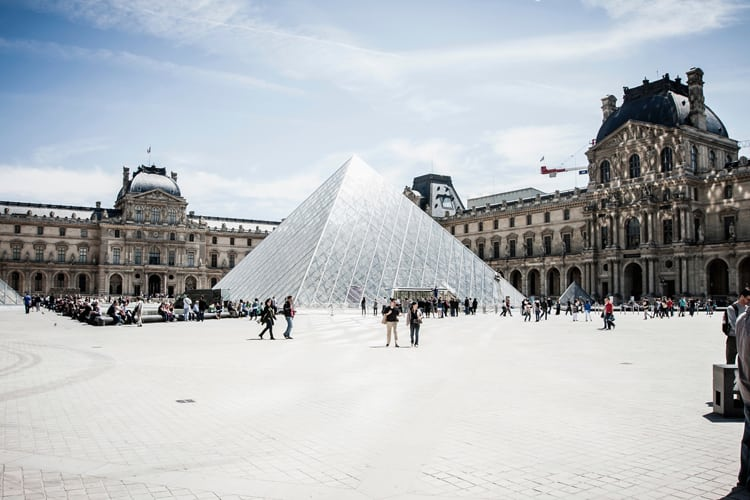 Glass pyramid in the courtyard of the Louvre