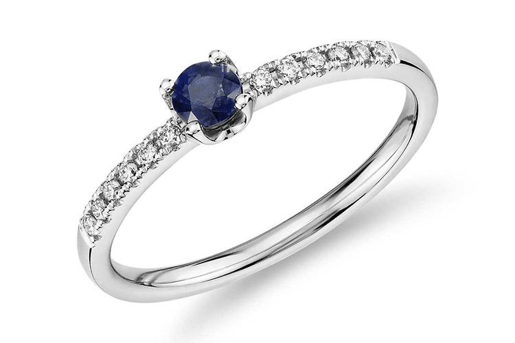 Petite Sapphire stacking diamond ring Blue Nile engagement ring ideas
