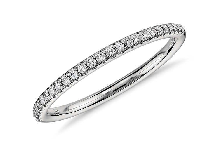 Petite micro pave diamond engagement ring. Photo by Blue Nile.