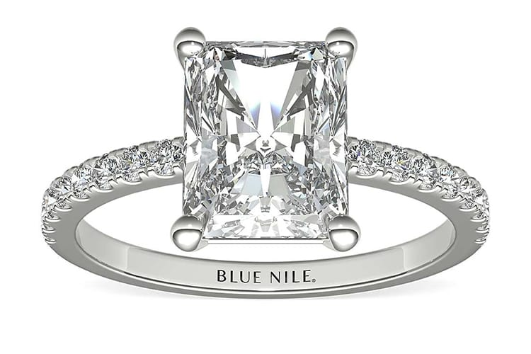 Petite pavé diamond engagement ring. Photo by Blue Nile.