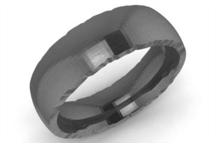 Photo of a black gold ring courtesy of Diamondere