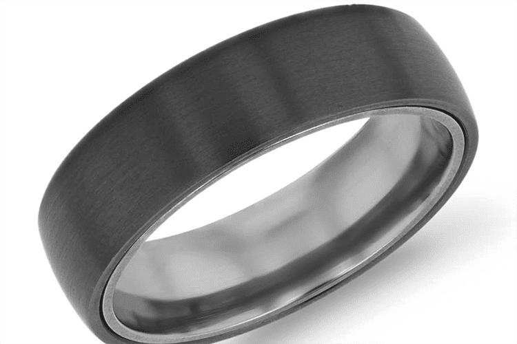 Photo of a black titanium ring courtesy of Blue Nile