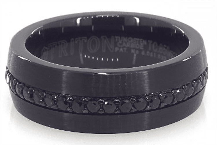 Photo of a black tungsten ring courtesy of James Allen