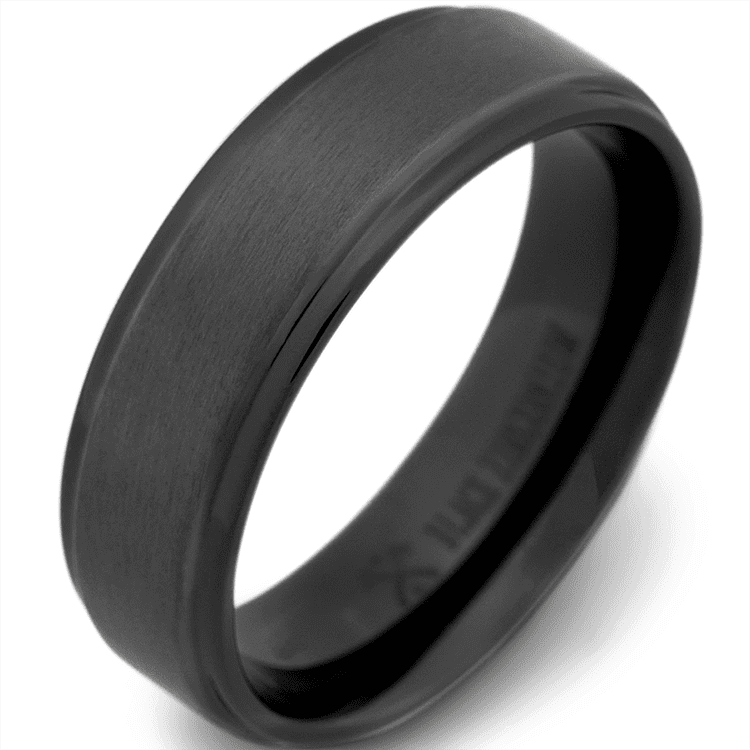 Photo of a black zirconium ring courtesy of Manly Bands