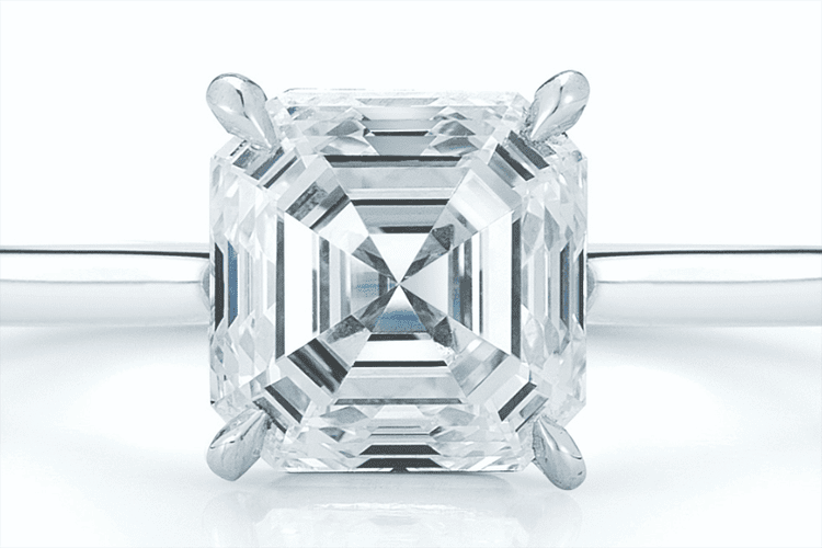 Photo of an Asscher cut solitaire ring courtesy of KWIAT