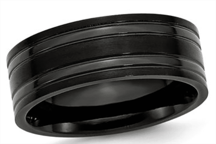 Photo of men's titanium wedding ring courtesy of Zales